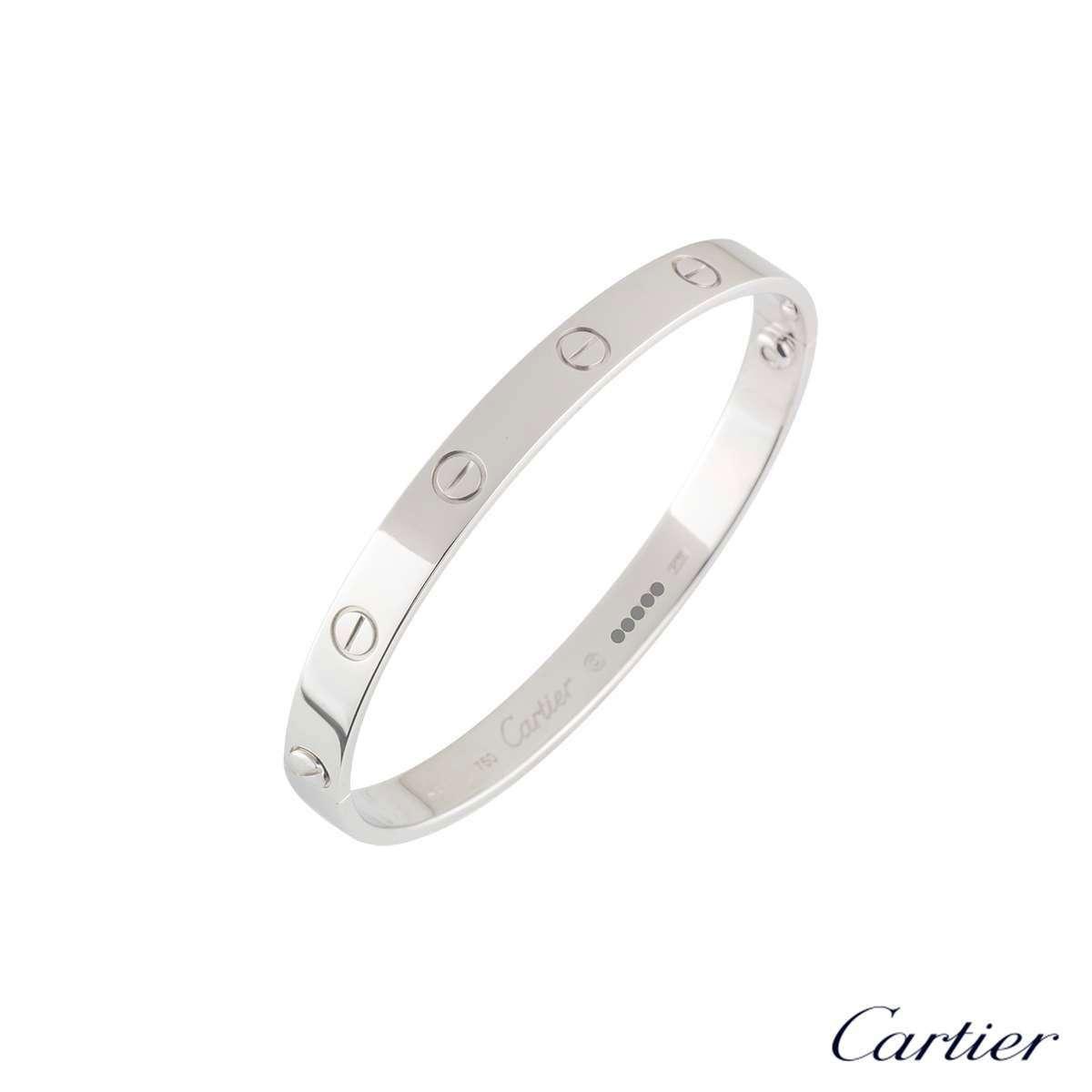 Cartier White Gold Plain Love Bracelet Size 18 B6035418